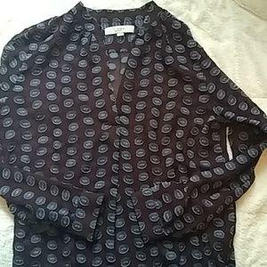 Loft VNeck patterned maroon Blouse 100 % silk M